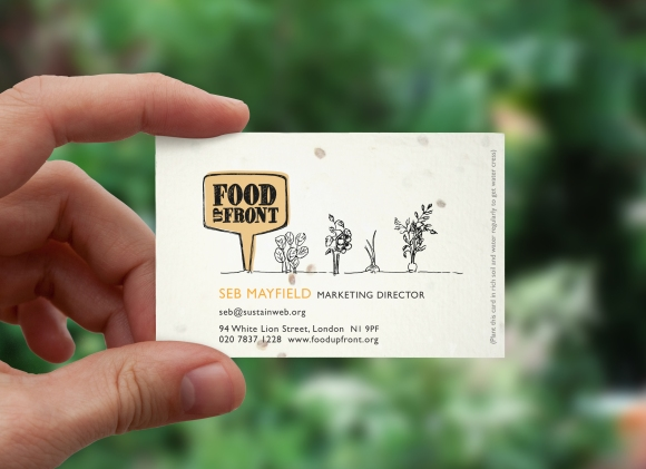 FOOD UP FRONT BUS CARD, DESIGNED BY GOOD PEOPLE
